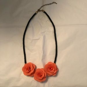 Rosette 3 Rose Pink Coral Trio Black Rope Necklace